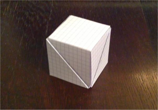 D coupage du cube en trois pyramides identiques - Faire un cube en papier ...